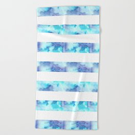 Blue & Purple Watercolor Stripes Beach Towel