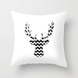 Zig Zag Modern Deer Head Throw Pillow