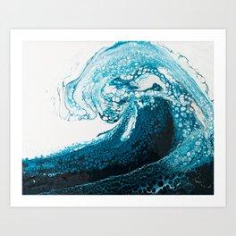 Ocean Wave Acrylic Pour Art Print