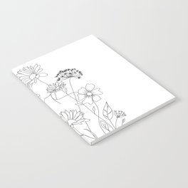 Minimal Line Art Woman with Flowers III Notebook