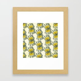 Kowhai Flowers Pattern Framed Art Print