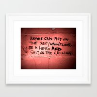 toilet Framed Art Prints featuring toilet humor by Mea Culpa