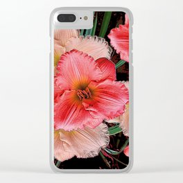 PINK & CREAM DAYLILIES BLACK ART Clear iPhone Case