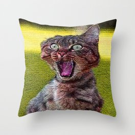 funny cat shocked Throw Pillow