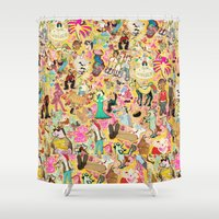 unicorns Shower Curtains featuring Decoupage Unicorns by That's So Unicorny