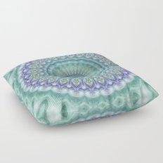Bright Green and Purple Fractal Kaleidoscope Mandala Floor Pillow