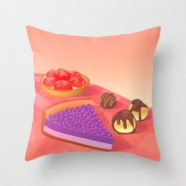 Cream & Berries Throw Pillow