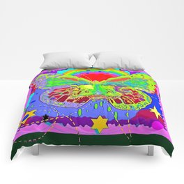 Lime Green Butterfly Face Rainbow for Kids Comforters