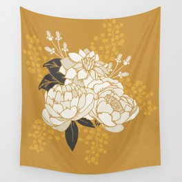 Glam Florals - Gold Wall Tapestry