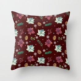 Colorful Christmas Red White Poinsettia Pine Cones Snowflakes Throw Pillow