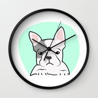 frenchie Wall Clocks featuring Frenchie by Pati Designs