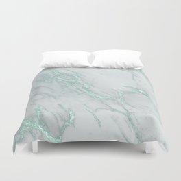 Marble Love Mint Metallic Duvet Cover