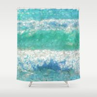 breaking Shower Curtains featuring Breaking Waves by Teresa Pople