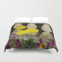 concrete Duvet Covers featuring Concrete Flowers by BeachStudio