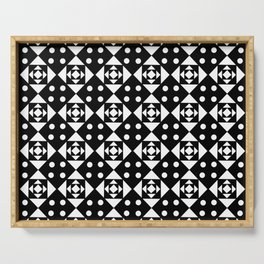 Symmetric triangle 21 Black and white Serving Tray
