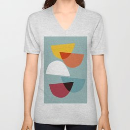 Mid century abstract art 01 Unisex V-Neck