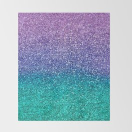 Lavender Purple & Teal Glitter Throw Blanket