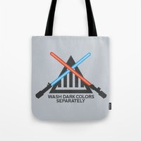 jedi Tote Bags featuring Jedi Care Instructions by John Tibbott
