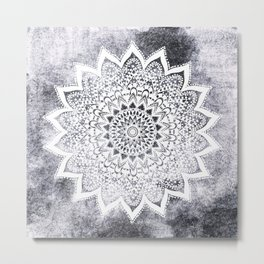 BOHO WHITE NIGHTS MANDALA Metal Print