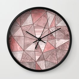Soft Pink Coral Glamour Gemstone Triangles Wall Clock