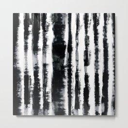Tie-Dye Shibori Stripe BW Metal Print