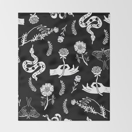 Linocut snakes hand rose floral black and white spooky gothic pattern Throw Blanket