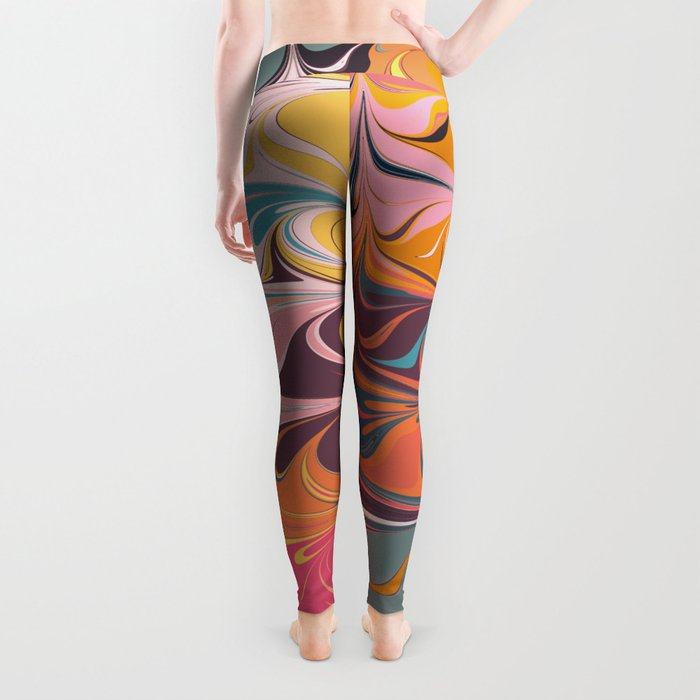 Colorful Abstract Marbled Design Leggings
