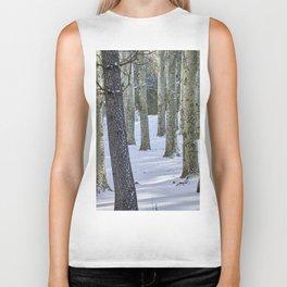 Mountain poplars. Spring snowstorm Biker Tank
