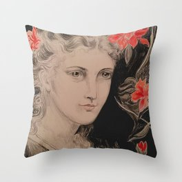 PreRaphaelite Pink Throw Pillow