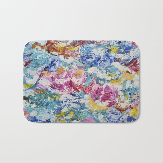 Abstract floral painting Bath Mat