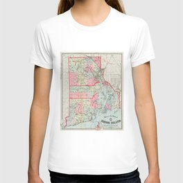 Vintage Map of Rhode Island (1887) T-shirt
