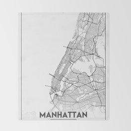 Minimal City Maps - Map Of Manhattan, New York, United States Throw Blanket