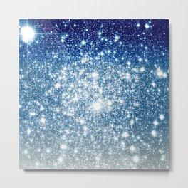 Galaxy Sparkle Stars Deep Blue Silver Ombre Metal Print