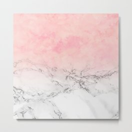 Modern blush pink watercolor ombre white marble Metal Print
