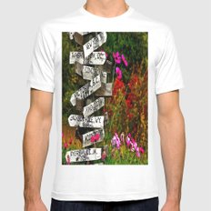 Signpost in the Fall White Mens Fitted Tee MEDIUM
