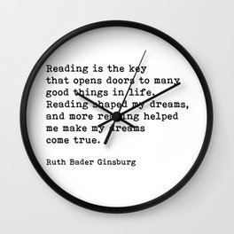 RGB, Reading Is the Key That Opens Doors, Motivational, Quote Wall Clock