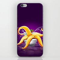 toilet iPhone & iPod Skins featuring OCTOPUS / TOILET by shttefan