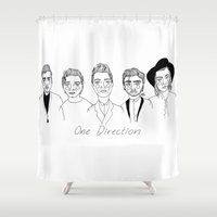 one direction Shower Curtains featuring One Direction by ☿ cactei ☿