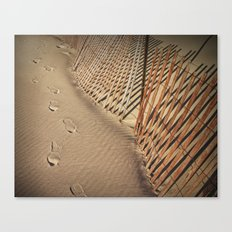 Footprints on the Beach by the Sand Fence  No 136 Canvas Print