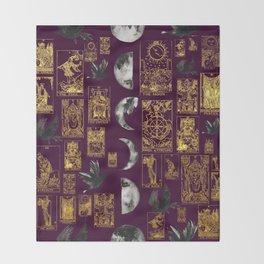Beautiful Pagan Themed Print - Tarot Cards, Moon Cycles and Ravens Throw Blanket