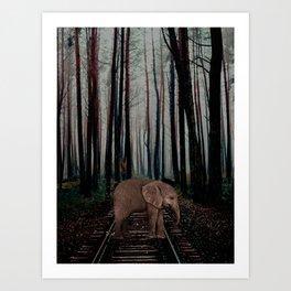 elephant on the rail Art Print