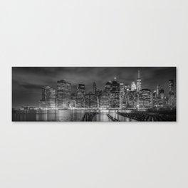 NEW YORK CITY Monochrome Night Impressions | slim panoramic Canvas Print