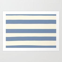 Dusk Sky Blue 27-23 Hand Drawn Fat Horizontal Lines on Dover White 33-6 Art Print