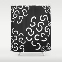 fries Shower Curtains featuring Curly Fries by Astrid Schwarz
