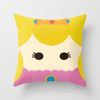princess peach Throw Pillows featuring Princess Peach, Mario by heartfeltdesigns by Telahmarie