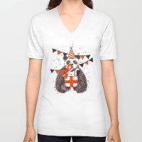 birthday V-neck T-shirts featuring Happy Birthday by Tobe Fonseca