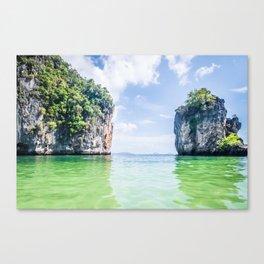 Clear Water and White Limestone Cliffs in Thailand Fine Art Print Canvas Print