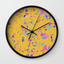 Bright Yellow Terrazzo Wall Clock