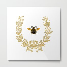 French Bee acorn wreath Metal Print