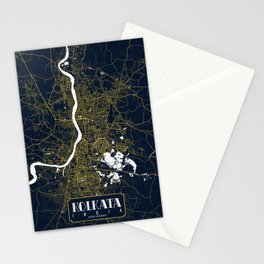 Kolkata City Map of India - Gold Art Deco Stationery Cards